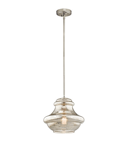 Kichler 42044NIMER Everly 1 Light 12 inch Brushed Nickel Pendant Ceiling Light in Mercury Glass photo