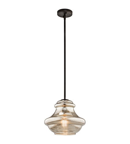 Kichler 42044OZMER Everly 1 Light 12 inch Olde Bronze Pendant Ceiling Light in Mercury Glass photo