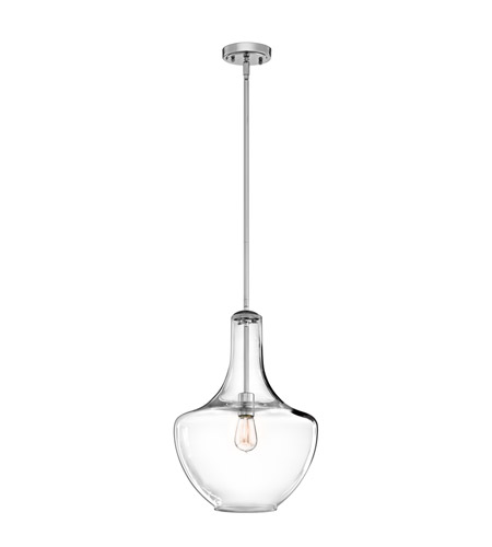 Kichler 42046CH Everly 1 Light 14 inch Chrome Pendant Ceiling Light in Clear Glass photo