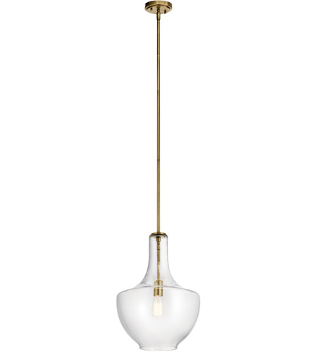 Natural Brass Glass Everly Pendants
