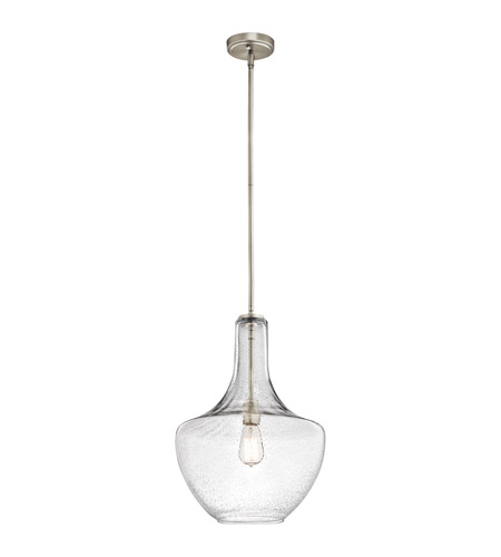 Kichler 42046NICS Everly 1 Light 14 inch Brushed Nickel Pendant Ceiling Light in Clear Seedy photo