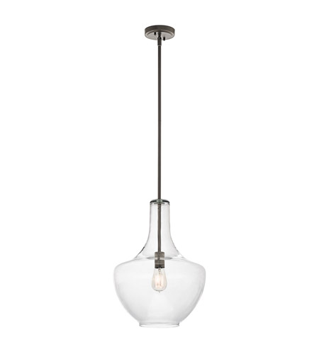 Kichler 42046oz Everly 1 Light 14 Inch Olde Bronze Pendant Ceiling Light In Clear Glass