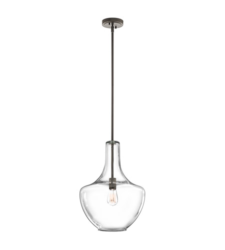 Kichler 42046OZCS Everly 1 Light 14 inch Olde Bronze Pendant Ceiling Light in Clear Seedy photo