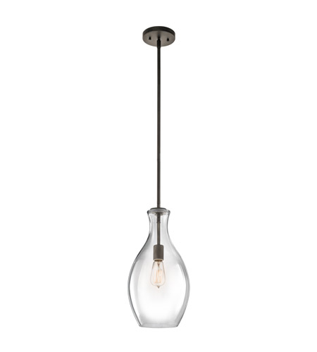 Kichler 42047OZ Everly 1 Light 9 inch Olde Bronze Pendant Ceiling Light in Clear Glass photo