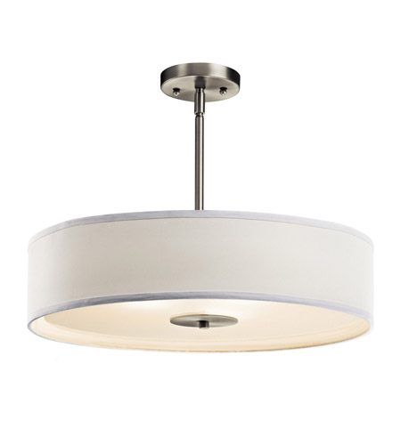 Kichler Lighting Signature 3 Light Pendant Convertible Semi-Flush in Brushed Nickel 42121NI photo