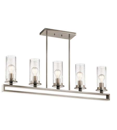 Kichler 42124CLP Kayde 5 Light 40 inch Classic Pewter Linear Chandelier Ceiling Light, Single photo
