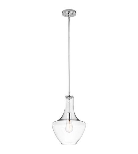 kichler 42141chclr everly 1 light 11 inch chrome pendant ceiling light in clear glass kichler