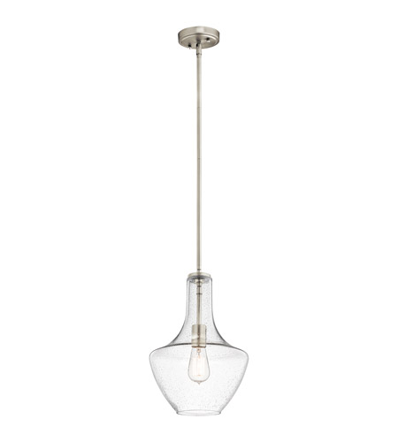 Kichler 42141NICS Everly 1 Light 11 inch Brushed Nickel Pendant Ceiling Light in Clear Seedy photo