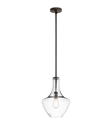 Kichler 42141OZCLR Everly 1 Light 11 inch Olde Bronze Pendant Ceiling Light in Clear Glass photo