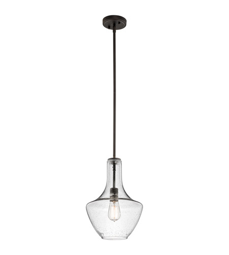 Kichler 42141ozcs everly 1 light 11 inch olde bronze pendant ceiling light in clear seedy
