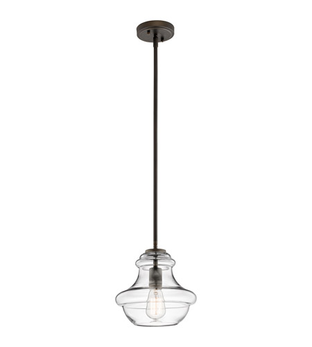 Kichler Everly 1 Light Pendant in Olde Bronze 42167OZCLR