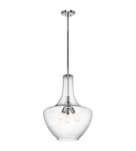 Kichler 42198ch everly 3 light 20 inch chrome pendant ceiling light aloadofball Gallery