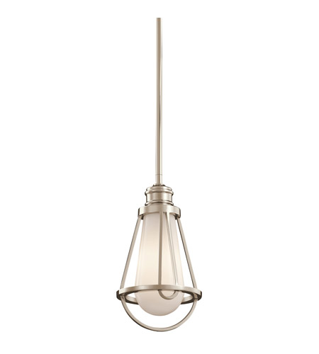 Kichler Lighting Saddler 1 Light Mini Pendant in Polished Nickel 42225PN