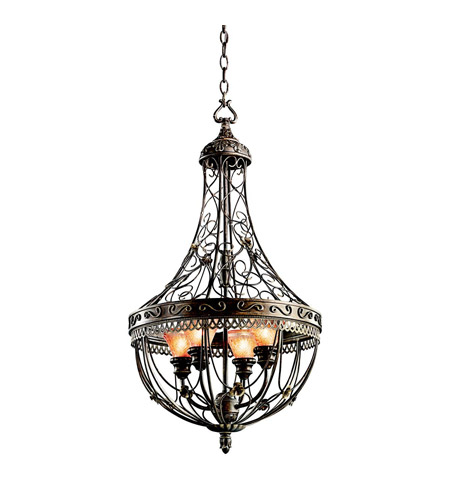 Kichler Lighting Marchesa 4 Light Foyer Chain Hung in Terrene Bronze 42230TRZ photo