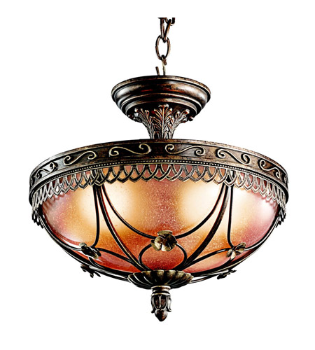 Kichler Lighting Marchesa 3 Light Semi-Flush in Terrene Bronze 42231TRZ