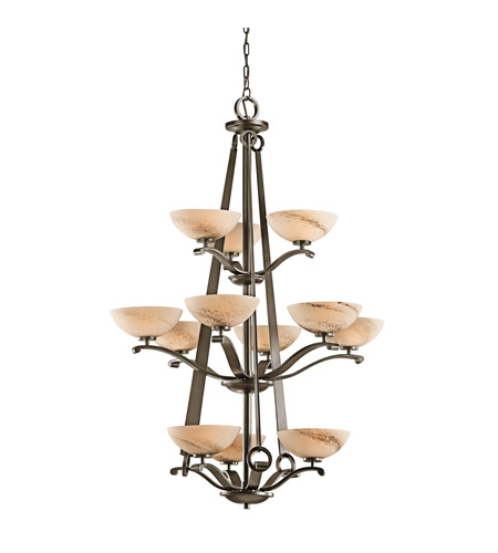 Kichler Lighting Garland 12 Light Foyer Chandelier in Shadow Bronze 42358SWZ photo
