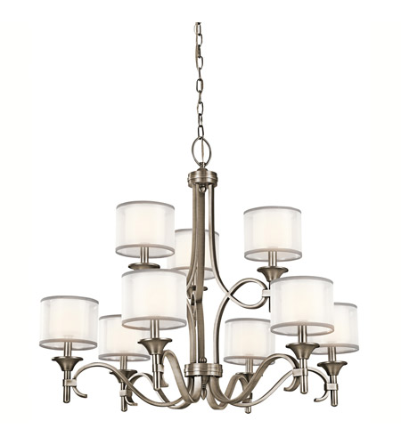 Kichler 42382AP Lacey 9 Light 34 inch Antique Pewter Chandelier Ceiling Light, 2 Tier