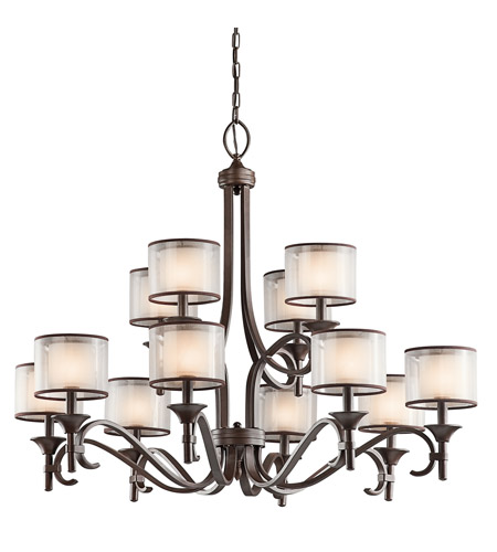 Kichler Lighting Lacey 12 Light Chandelier in Mission Bronze 42383MIZ