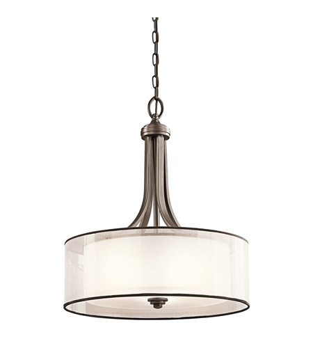 Kichler 42385MIZ Lacey 3 Light 20 inch Mission Bronze Inverted Pendant Ceiling Light, shade only is organza is 20 x 7 photo
