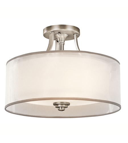 Kichler 42386AP Lacey 3 Light 15 inch Antique Pewter Semi-Flush Ceiling Light photo