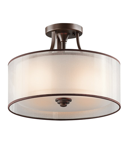 Kichler 42386MIZ Lacey 3 Light 15 inch Mission Bronze Semi-Flush Ceiling Light photo