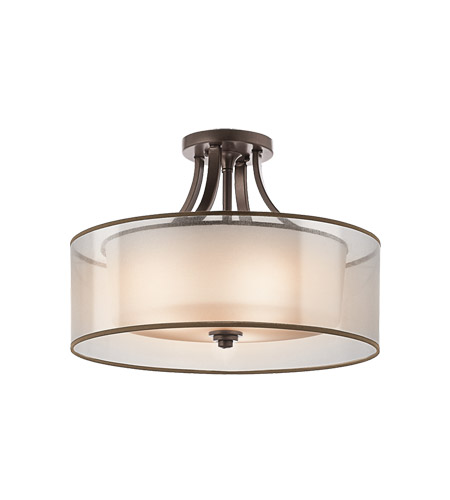 kichler 42387miz lacey 4 light 20 inch mission bronze semiflush ceiling light