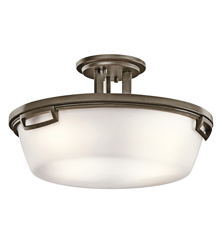 Kichler Lighting Leeds 3 Light Semi-Flush in Shadow Bronze 42433SWZ photo