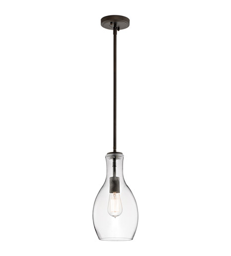 Kichler 42456OZCLR Everly 1 Light 7 inch Olde Bronze Pendant Ceiling Light in Clear Glass photo