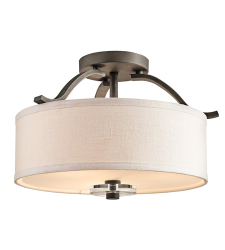 Kichler 42485OZ Leighton 3 Light 16 inch Olde Bronze Semi-Flush Ceiling Light photo