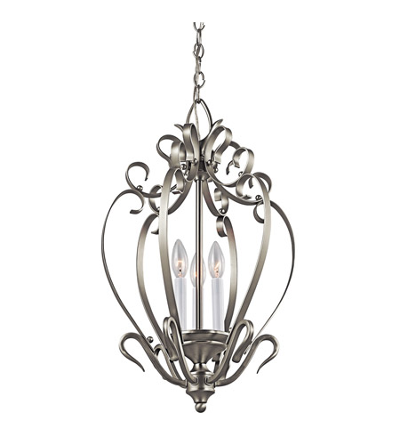 Kichler Lighting Signature 3 Light Foyer Chain Hung in Brushed Nickel 42501NI photo