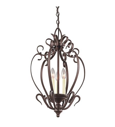 Kichler Lighting Signature 3 Light Foyer Chain Hung in Tannery Bronze 42501TZ