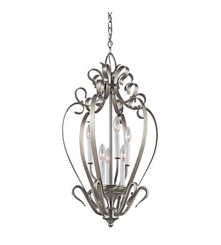 Kichler Lighting Signature 6 Light Foyer Chain Hung in Brushed Nickel 42502NI