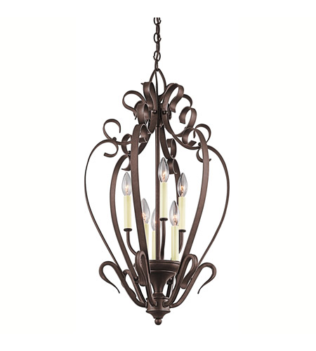Kichler Lighting Signature 6 Light Foyer Chain Hung in Tannery Bronze 42502TZ photo