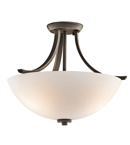 Kichler 42563OZ Granby 3 Light 17 inch Olde Bronze Semi-Flush Ceiling Light in Standard photo