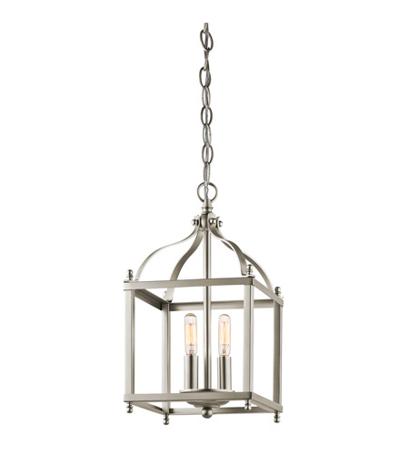 Kichler 42565NI Larkin 2 Light 8 inch Brushed Nickel Foyer Pendant Ceiling Light photo