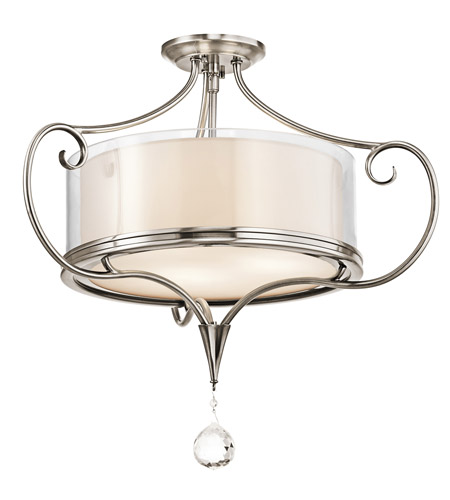 Kichler Lighting Lara 3 Light Semi-Flush in Classic Pewter 42866CLP