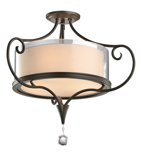 Kichler 42866SWZ Lara 3 Light 21 inch Shadow Bronze Semi-Flush Ceiling Light photo