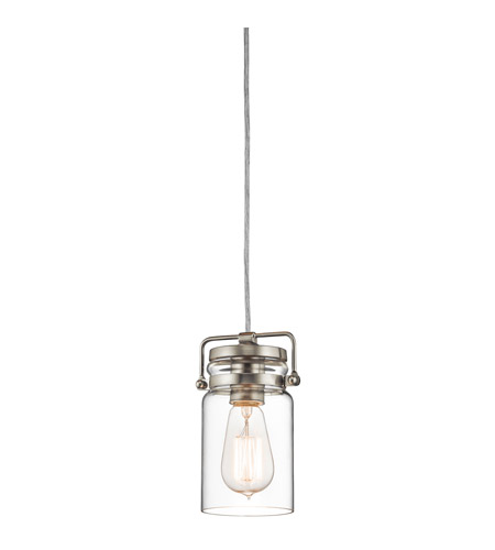 Kichler 42878NI Brinley 1 Light 5 inch Brushed Nickel Mini Pendant Ceiling Light photo