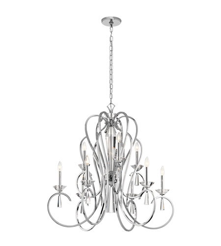 Kichler 42895CH Optic Ice 9 Light 36 inch Chrome Chandelier Ceiling Light, Large photo