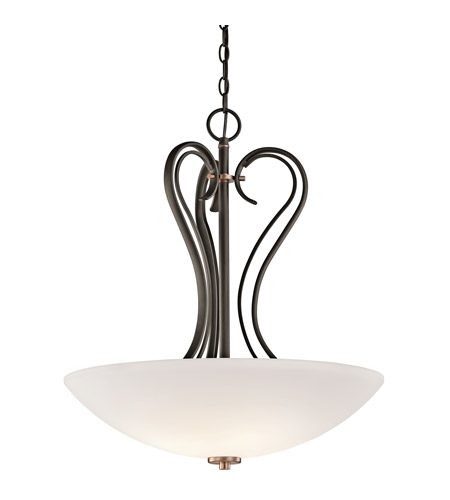 Kichler Lighting Claridge Court 3 Light Inverted Pendant in Olde Bronze 42987OZ