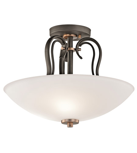 Kichler Lighting Claridge Court 3 Light Semi-Flush in Olde Bronze 42989OZ photo