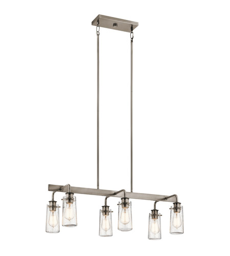 Kichler 43059CLP Braelyn 6 Light 15 inch Classic Pewter Chandelier Linear (Double) Ceiling Light photo