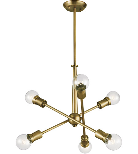 Kichler 43095NBR Armstrong 6 Light 20 inch Natural Brass Chandelier Ceiling Light, Small photo
