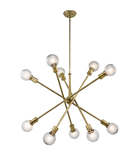 Kichler 43119NBR Armstrong 10 Light 39 inch Natural Brass Chandelier Ceiling Light photo