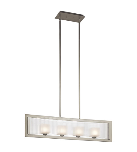 Kichler Lighting Rigate 4 Light Single Linear Chandelier in Brushed Nickel 43142NI
