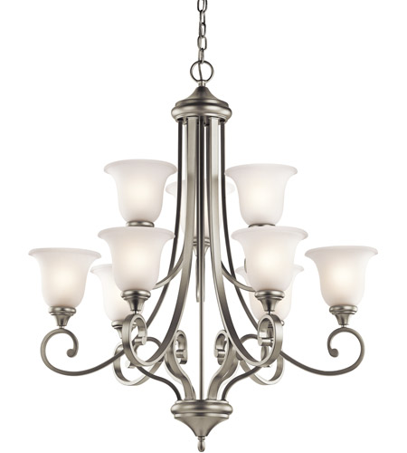 Kichler Lighting Monroe 9 Light Chandelier in Brushed Nickel 43159NI