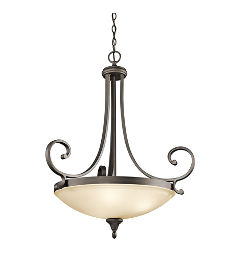 Kichler 43164OZ Monroe 3 Light 27 inch Olde Bronze Inverted Pendant Ceiling Light photo