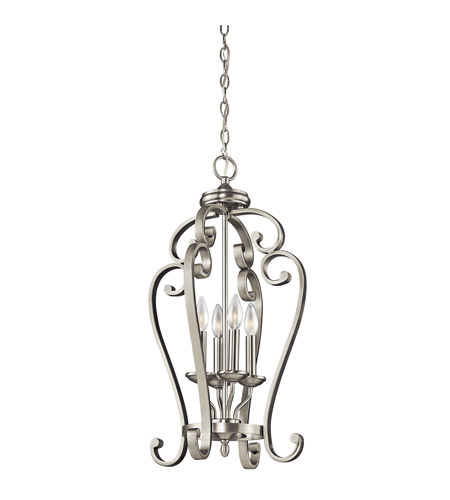 Kichler Lighting Builder Monroe 4 Light Foyer Chain Hung in Brushed Nickel 43165NI