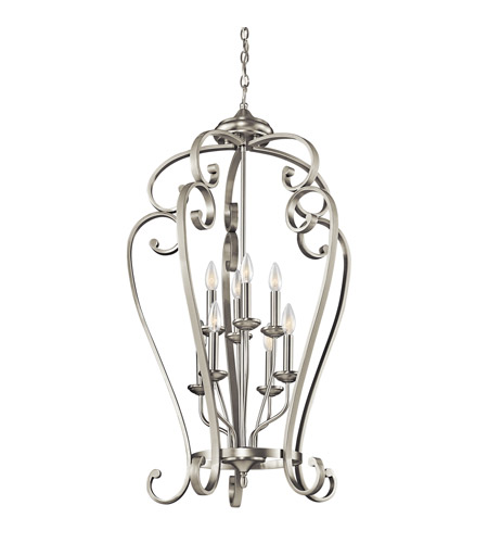 Kichler Lighting Builder Monroe 8 Light Foyer Chain Hung in Brushed Nickel 43166NI