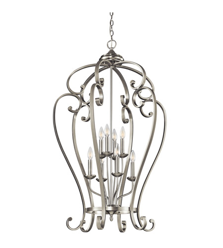 Kichler Lighting Builder Monroe 8 Light Foyer Chain Hung in Brushed Nickel 43167NI